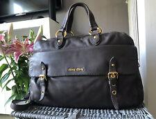Beautiful Genuine MIU MIU GREY Leather SATCHEL Bag SHOULDER BAG, Handbag
