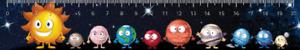 3D Lineal – Kids Comic Planeten des Sonnensystems DE, EN, FR – Weltraum, Weltall
