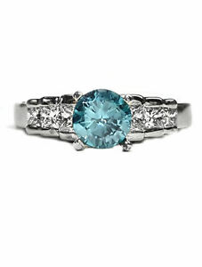 Diamond Princess Cut Engagement Ring,14kt, with  Blue Topaz Center