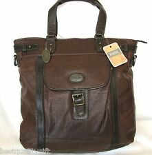 NEW FOSSIL DARK BROWN LEATHER ESTATE LARGE BRIEFCASE,CROSS BODY,HAND+UTILITY BAG