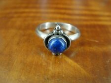 Round Blue Lapis Lazuli Stone Sterling Silver 925 Ring Size 5 1/2