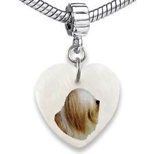 Tibetan Terrier Dog Heart Mother Of Pearl European Bracelet Charm Bead EBS199