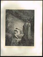 1860s BIG Original Antique Myrrha Female Nude Dore Art Engraving Print