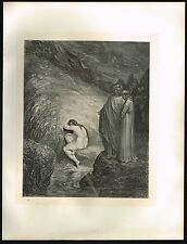 1860s BIG Original Antique Myrrha Female Nude Dore Art Engraving Print