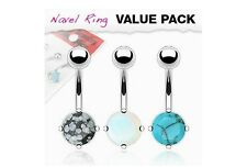 3 lot Precious Stones Organic Natural BELLY Button NAVEL RINGS Piercing Jewelry