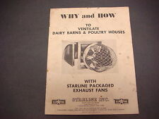 1953 Starline Packaged Exaust Fan Sales Brochure,How & Why to Ventilate Barns