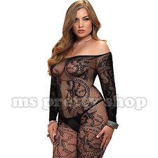 Plus Size 14 Mesh Lace See Thru Shoulderless Long Sleeve Fishnet Bodystocking