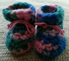Babyschuhe Mädchen gehäkelt Ledersole pink blau grün