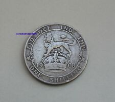1908 Edward VII  Silver British English Shilling 92.5% (Sterling) silver
