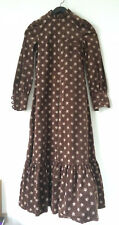 Vintage 70's Victorian goth Brown Corduroy Floral children's Dress