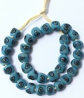 Ghana Blue Zen recycled glass handmade Short strand African Trade beads