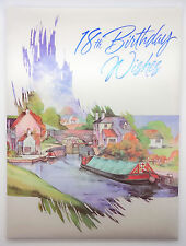 NEW BOXED PADDED BIRTHDAY CARD 18TH BIRTHDAY CANAL SCENE BOAT MOORED NEAR LOCK