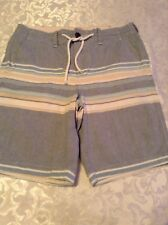 Hollister board shorts Classic fit Size 28 Mens blue striped Inseam 9 inches