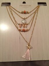Topshop Freedom Statement Light Pink Stones Beads Multiple Necklace - Brand New