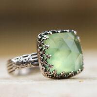 Superb Women Silver Natural Gemstone Peridot Moonstone Wedding Ring Size6-10