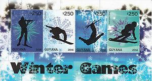Guyana Olympics Stamps 2014 MNH Winter Games Biathlon Snowboarding Skiing 4v M/S