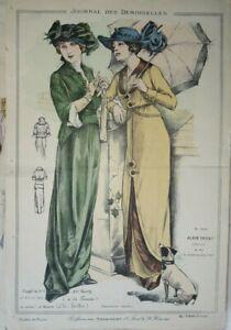 BELLE GRAVURE DE MODE COULEUR FEMME COSTUME CHIEN COIFFE ROBE DECORATION 1913
