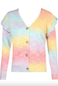 Pastel Ombre Stripe Frill Sleeve Bright Knit Cardigan - BNWT One Size UK 8 - 14