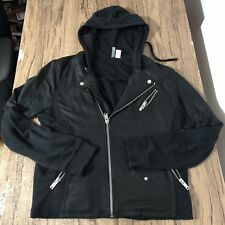 H&M Divided Mens Black Zip Up Motorcycle Style Hoodie Slim Fit Size L