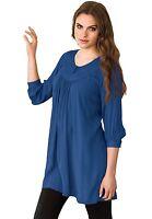NEW Womens Ellos Blue Tunic Top Blouse 3/4 Sleeve Plus Size L 18/20