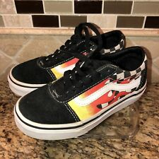 VANS Youth Sz 12 Shoes Sneakers Black White Orange Flames Lace Up Skater