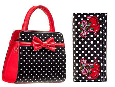Banned Rockabilly 50s VINTAGE Pois Cherry Noeud Sac à main & Porte-feuille