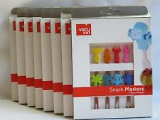 New! Set of 8 unique fun Character Snack Markers forks by Vacu Vin cheese Wine