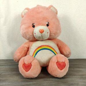 "Care Bears Pink Rainbow Jumbo Plush 2002 Love A Lot Hearts 24"" Stuffed Toy"