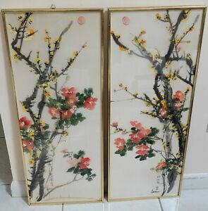 Pair Japanese Chinese Floral Watercolor Paintings on Silk ~ Signed & Framed