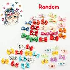 5PCS Color Random Mini Elastic Heart Hair Rope Ring Dog Tiara Bows Pet Hair Band