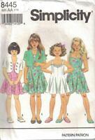 Simplicity 8445 Girls Princess Seams Dress, Jumpsuit, Bolero Jacket Size 7-10