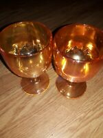 Vintage Marigold Carnival Glass Iridescent Water Goblets 4 Pointed Star Set of 2