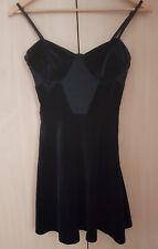 Topshop unworn strappy velvet black gothic grunge party skater dress size 10