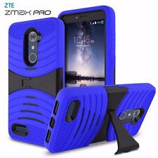 For ZTE Zmax Pro Case EXO Rugged Armor Shockproof Kickstand Hybrid Hard Cover
