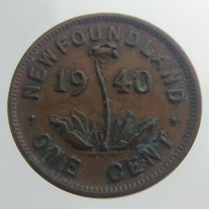 1940 Newfoundland One Cent Penny KM# 18 Circulated Coin Pitcher Plant V386
