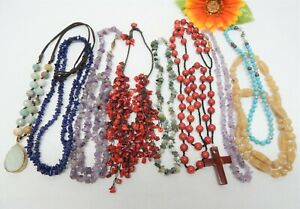 GLASS, STONE & CORAL BEAD NECKLACE LOT - FASHION JEWELRY LOT