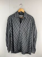 Expose Men's Vintage Long Sleeve Button Up Shirt Size L Black Grey Stripe