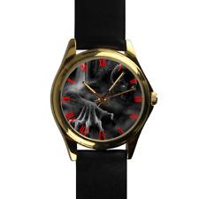 Evil Skeleton Zombie Crawling Gothic Gold Quartz Black Leather Strap Wrist Watch