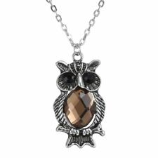 Women Men Unisex Tibetan Silver Owl Animal Crystal Pendant Necklace Jewelry Gift