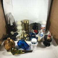 Lot of 14 Vintage AVON Collectors Bottles Pipes Anvil Fishing Reel