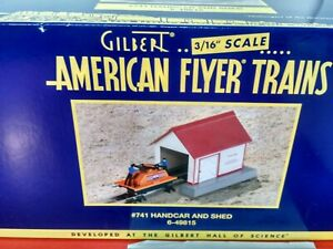 AMERICAN FLYER # 741 HAND CAR & SHED  6-49815 VINTAGE NEW N BOX #1