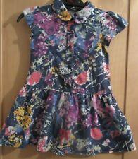 GIRLS 2-3 YEARS FLOWER LIGHTWEIGHT DENIM SHORT SLEEVE DRESS