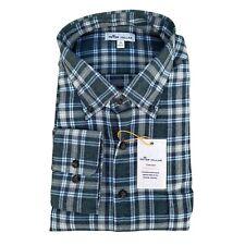 Peter Millar Crown Sport Flannel Button Down Long Sleeve Green Shirt XL $149