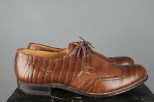 Vtg Men's 1950s Hannah Reptile Cowhide Wing Tip Dress Shoes 7.5 B/D 50s #7469s