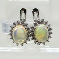 ELEGANT 1.5 CT GENUINE ETHIOPIAN WHITE OPAL 925 STERLING SILVER EARRINGS