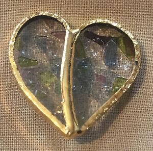 ARTISAN MADE ART GLASS HEART SHAPED PIN BROOCH SKU119861P