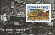 Sao Tome e Principe Block 213 gestempeld 1989 Locomotieven