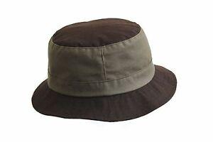 BRAND NEW MEN'S BROWN/OLIVE GREEN WAX OUTDOOR WATERPROOF BUCKET BUSH HAT MULTI 1