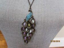"26"" Necklace Fashion Bronze PEACOCK Aqua Blue Stones Purple Stone Feathers"