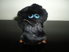 Handmade Black Fur Leather Raven Crow Figurine 2.5 inch